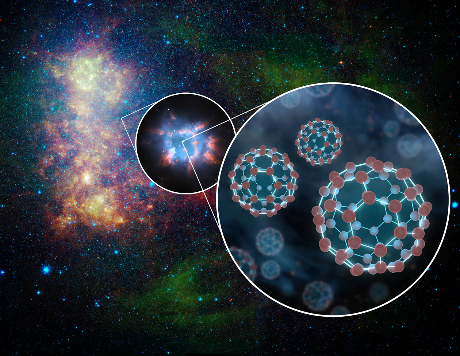 Representation of fullerenes flowing from the planetary nebulaImage Credit: NASA/jpi-caltech/t.pyle
