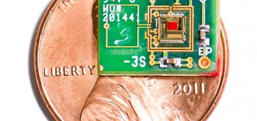 An image representing the tiny size of the chip - it is about half the area of a 1 cent coin