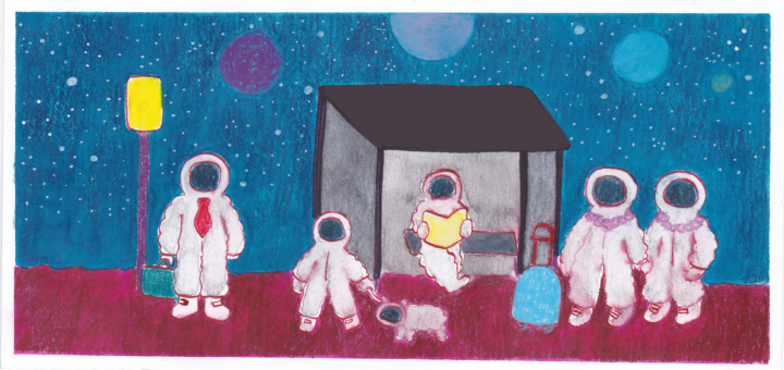 Illustration of a family of astronauts waiting at a bus stop.