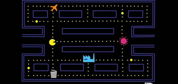 Artwork of a Pac-Man style game where Pac-Man is eating an airplane, powerplant and coronavirus